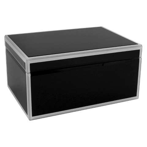 wolf large glass jewelry box black target