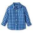 Toddler Boys Plaid Button Down - Refresh Blue