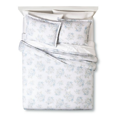 Cool Floral Print Comforter Set (Full/Queen) Blue 3pc - Simply Shabby Chic™