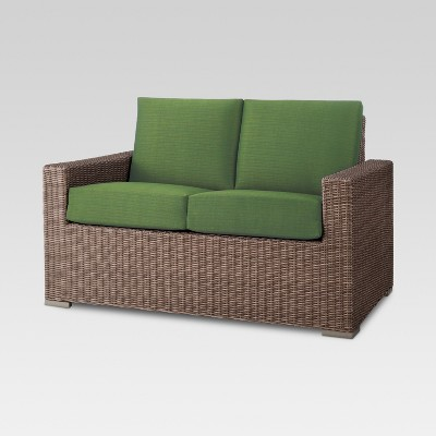 Heatherstone Wicker Patio Loveseat Green - Threshold™