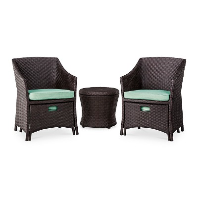 Loft 5-Piece Wicker Patio Conversation Furniture Set - Seafoam - Threshold™