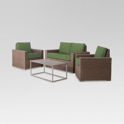 Patio Seating Set: Threshold Heatherstone 4-Piece Wicker Patio Set: