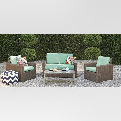 Heatherstone 4-Piece Wicker Patio Conversation Set - Seafoam - Threshold™