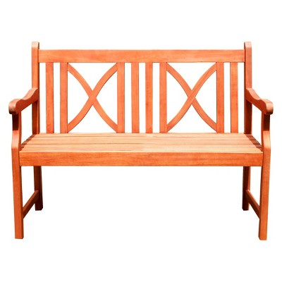 Vifah Wood 2-Seat Softcross Outdoor Bench - Brown