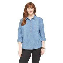 Women's Plus Size Long Sleeve Shirt Chambray Blue - Merona™