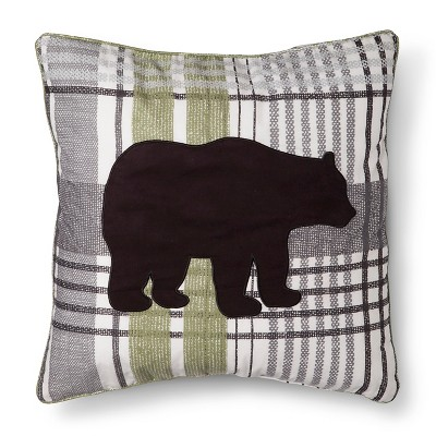 homthreads™ Harrison Bear Silhouette Decorative Pillow - Black/Green