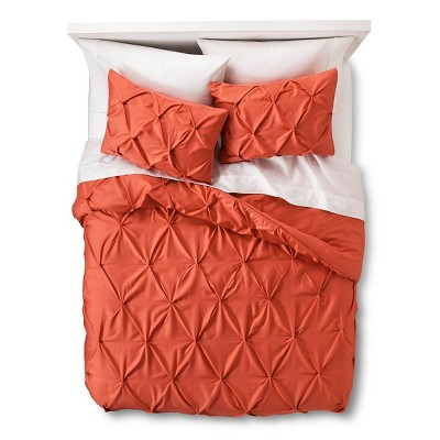 Pinched Pleat Comforter Set (Full/Queen) Coral 3pc - Threshold™