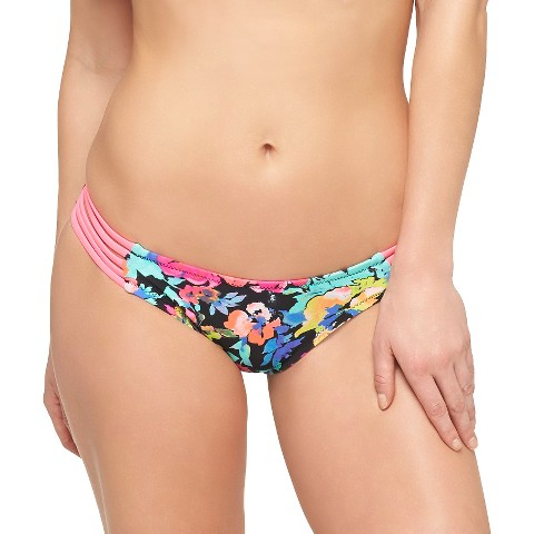 women s hot pink black floral print strappy bikini bottom xhilaration