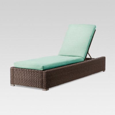 Heatherstone Wicker Patio Chaise Lounge Seafoam - Threshold™
