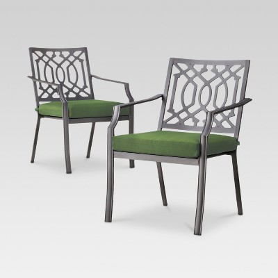 Harper 2-Piece Metal Patio Dining Chair Set - Green - Threshold™