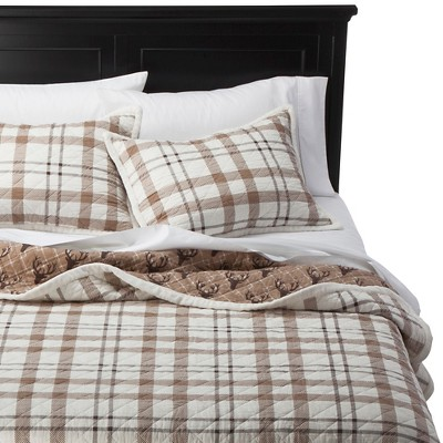 Cody Sherpa Plaid Quilt Set (King) Natural - homthreads™