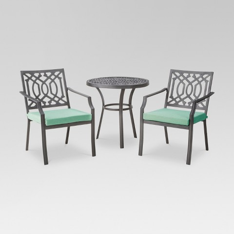 Harper 3 Piece Metal Patio Bistro Set Threshold™ Tar