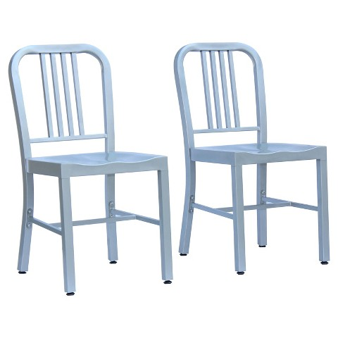 Payton Metal Dining Chair Metal Silver Set of 2 Tar
