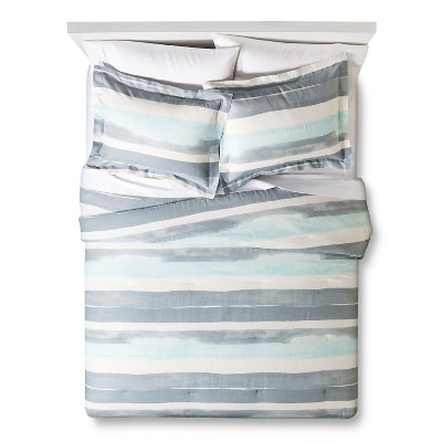 Watercolor Stripe Comforter Set (King) White&Blue 3pc - Nate Berkus™