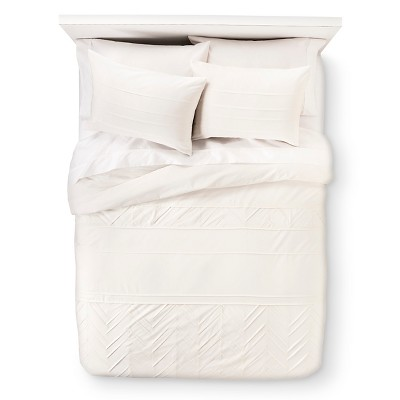 Pleated Duvet Set Cream (King) - Nate Berkus™