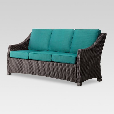 Belvedere Wicker Patio 3-Person Sofa - Turquoise  - Threshold™
