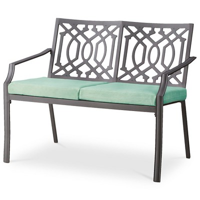 Harper Metal Patio Garden Bench - Seafoam - Threshold™