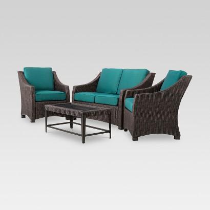 Patio Seating Set: Threshold Belvedere 4-Piece Wicker Patio Set: