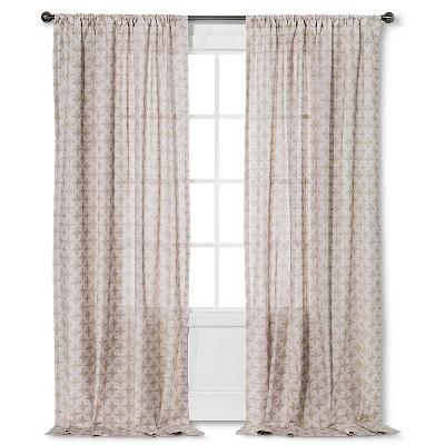 "Threshold™ Naturals Semi Sheer Prints Tile Curtain Panel - Brown Linen/Fresh White (84"")"