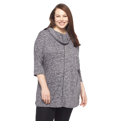 Women's Plus Size 3/4 Sleeve Cowlneck Top Black X/1X-Ava & Viv