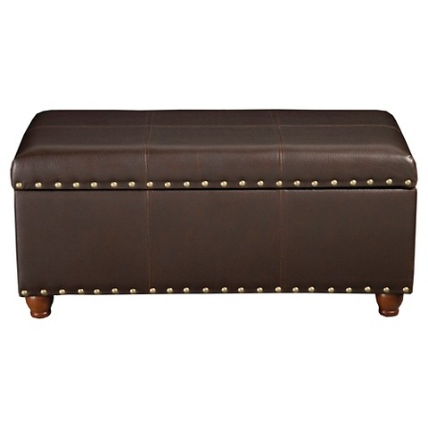 Homepop Faux Leather Storage Bench With Gold Nai Target
