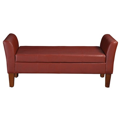 Storage Bench With Curved Arms Red Target
