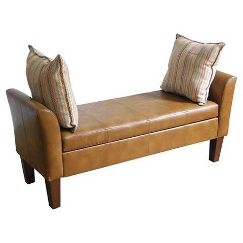 Homepop Faux Leather Settee Storage Bench Target