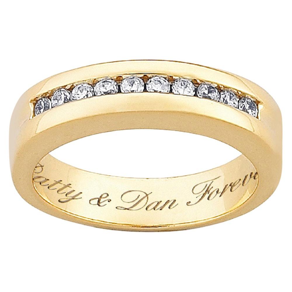 18K Gold over Sterling Engraved CZ Wedding Band - Gold (13)