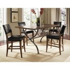 Hillsdale Cameron 5-Piece Rectangle Counter Height Dining Table with Padded Back Stools - Chestnut Brown