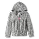 Toddler Girls' Heathered Zip-up Hoodie - Gray