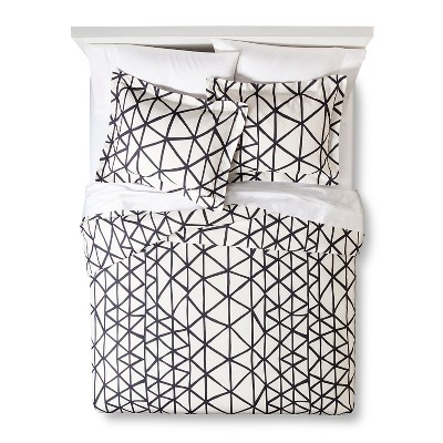 Handrawn Geo Duvet Cover Set White/Navy (King) - Nate Berkus™