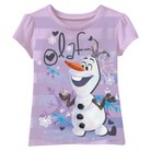 Disney® Frozen Infant Toddler Girls' Short Sleeve Striped Olaf Tee - Lilac