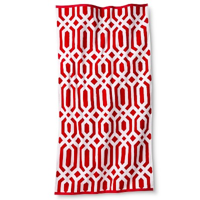 Fieldcrest® Luxury Clarke Ikat Sheared Beach Towel - Coral