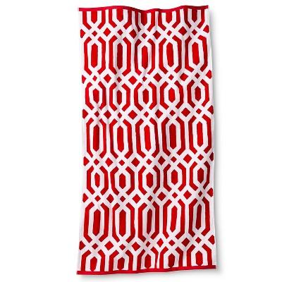 Clarke Ikat Sheared Beach Towel - Coral - Fieldcrest™
