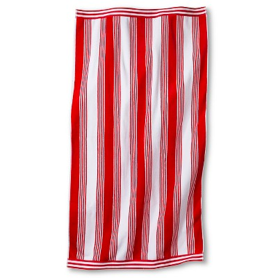 Abigail Stripe Sheared Beach Towel - Coral - Fieldcrest™