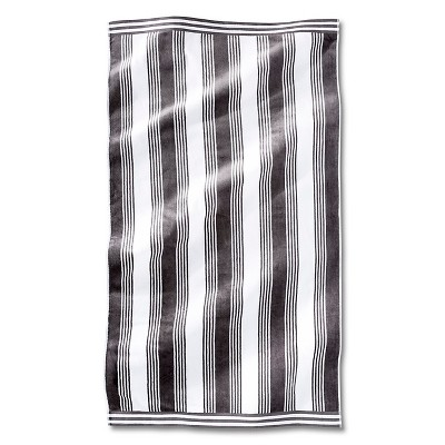 Fieldcrest® Luxury Abigail Stripe Sheared Beach Towel - Molten Lead