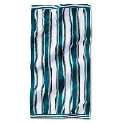 Fieldcrest® Luxury Abigail Stripe Sheared Beach Towel - Turquoise