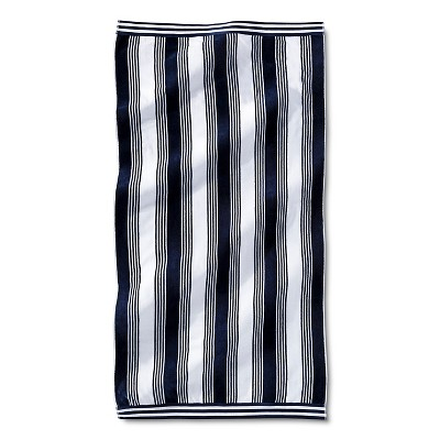 Abigail Stripe Sheared Beach Towel - Navy - Fieldcrest™