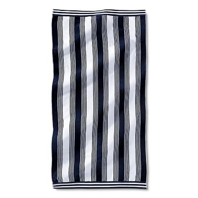 Abigail Stripe Sheared Beach Towel - Navy - Fieldcrest™