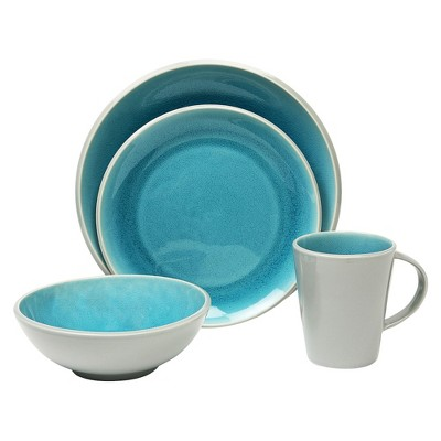 Baum Bros. Canvas Crackle 16 Piece Dinneware Set - Teal