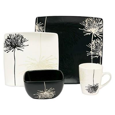 Baum Bros. Shadow Garden 16 Piece Dinneware Set - Black/White