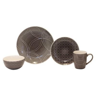 Baum Bros. Spirograph 16 Piece Dinneware Set - Grey & Tan