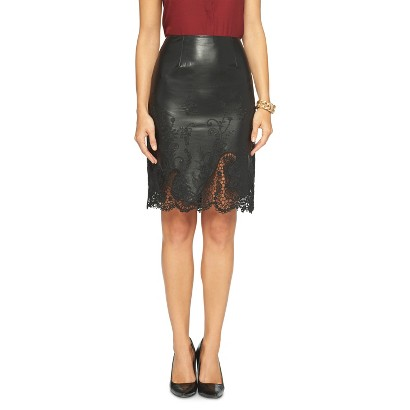 s faux leather lace skirt black wd 183 ny black target