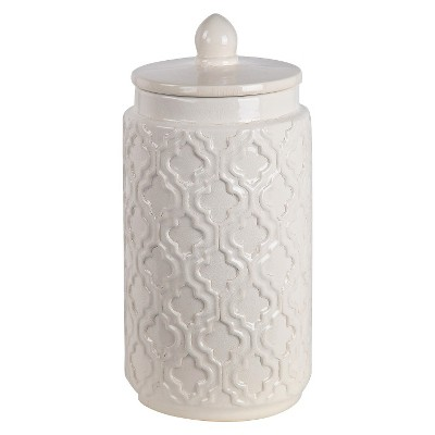 Privilege Decorative Large Ceramic Jar with Lid - Off White
