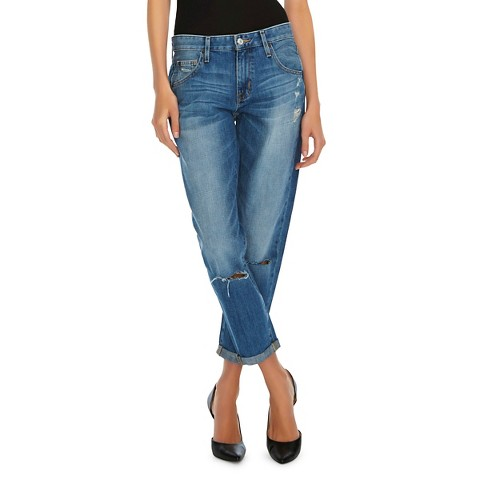 Boyfriend Crop Jean (Destroyed) Medium Blue - Mossimo