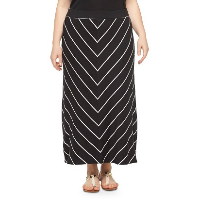 Women's Plus Size Maxi Skirt Black/White 4X-Ava & Viv