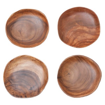 Easy Exotic Acacia Wood Plate Set of 4