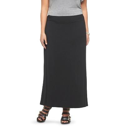 Women's Plus Size Maxi Skirt Black-Ava & Viv