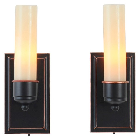 Candle TEK Unscented Wall Sconces with Flameless... : Target