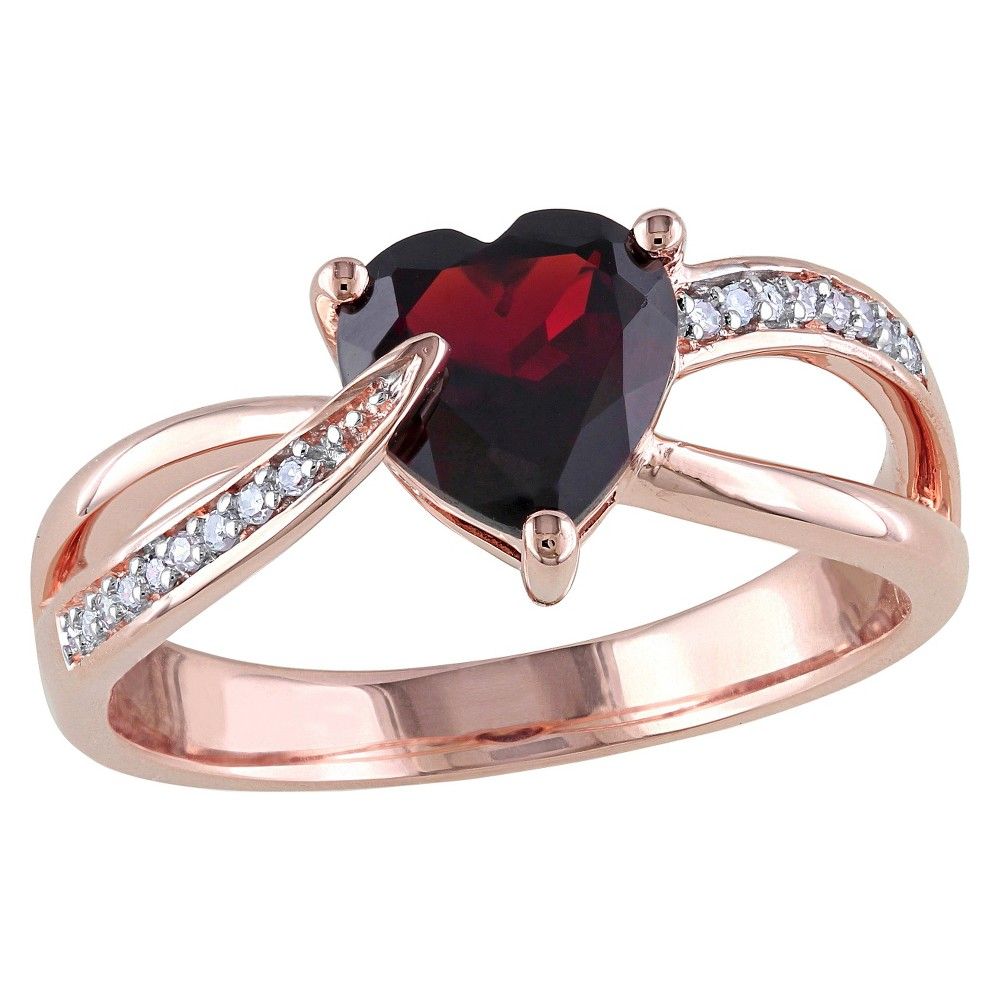 Allura 1 3/8 CT. T.W. Garnet and 0.05 CT. T.W. Diamond Pave Set Ring in 10K Pink Gold (GH I2-I3) (5), Women's, White